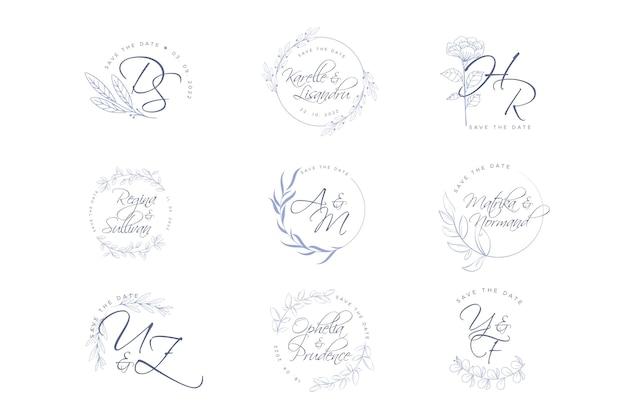 Elegante bruiloft logo's Gratis Vector