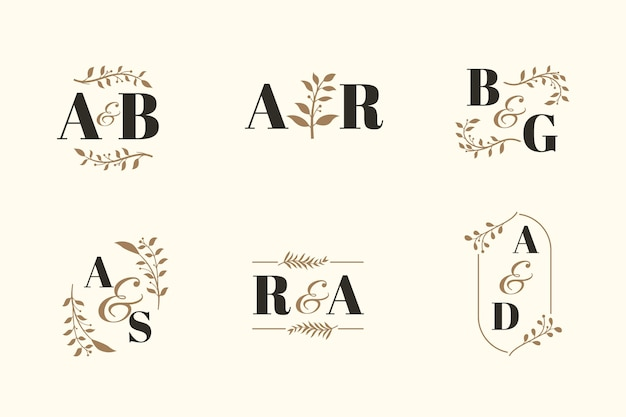 Elegante bruiloft monogram collectie Gratis Vector
