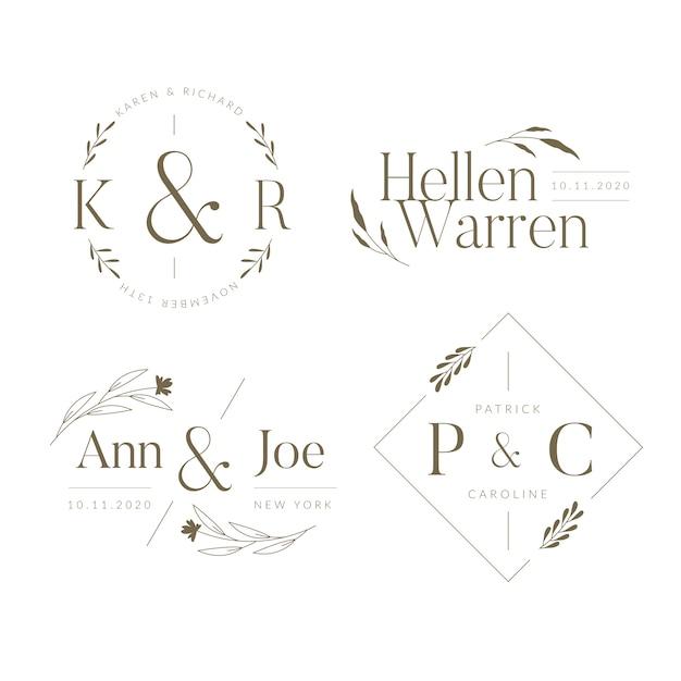 Elegante bruiloft monogrammen collectie Gratis Vector