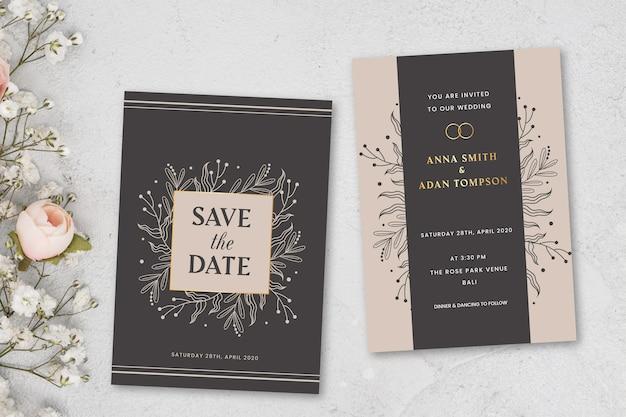 Elegante bruiloft uitnodiging concept Gratis Vector