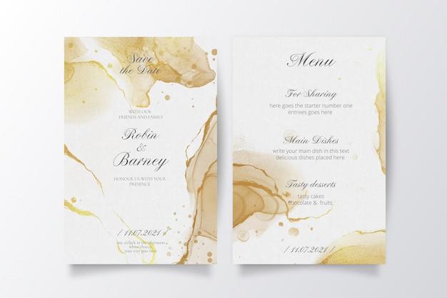 Elegante bruiloft uitnodiging en menusjabloon Gratis Vector