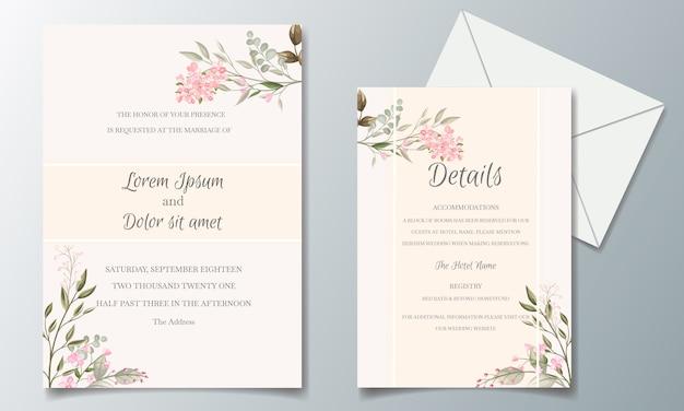 Elegante bruiloft uitnodiging kaart set sjabloon met prachtige bloemen en bladeren Premium Vector