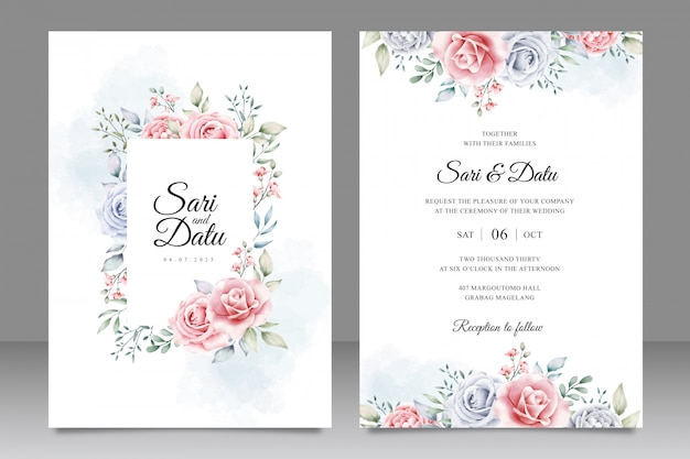 Elegante bruiloft uitnodiging kaartsjabloon met prachtige bloemen aquarel Premium Vector