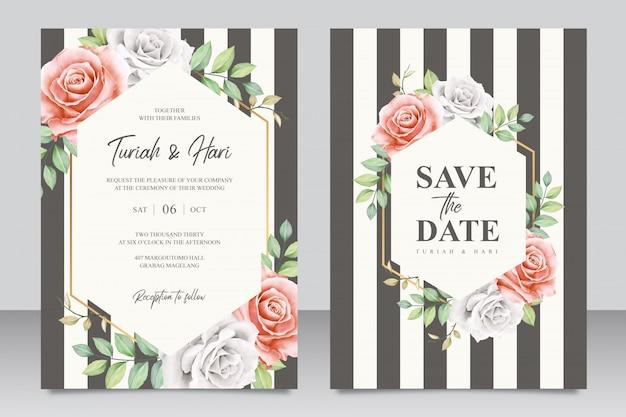 Elegante bruiloft uitnodiging kaartsjabloon met strepen Premium Vector