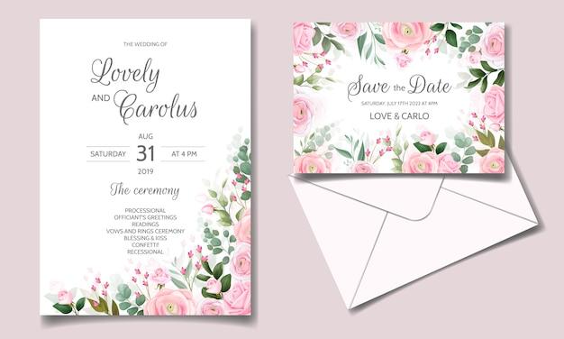 Elegante bruiloft uitnodiging kaartsjabloon set met mooie roze rozen en groene bladeren Premium Vector