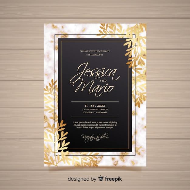 Elegante bruiloft uitnodiging kaartsjabloon Gratis Vector
