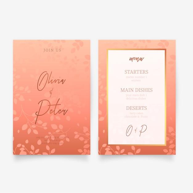 Elegante bruiloft uitnodiging & menusjabloon Gratis Vector