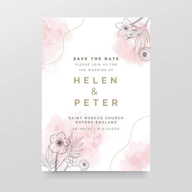 Elegante bruiloft uitnodiging met aquarel vlekken en bloemen Gratis Vector