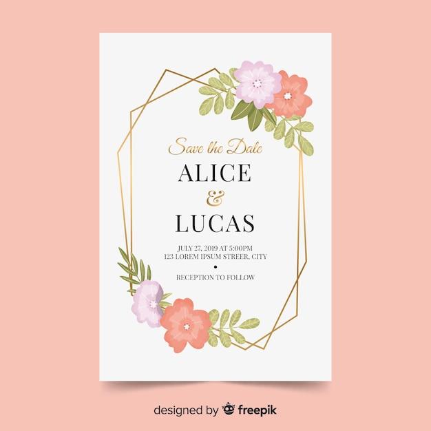 Elegante bruiloft uitnodiging met bloemen Gratis Vector