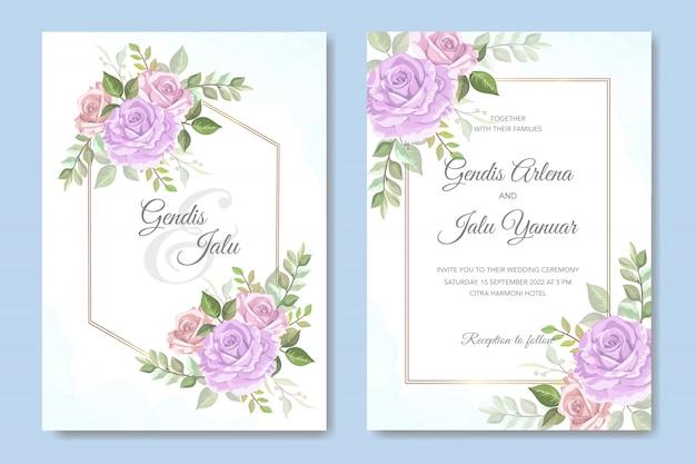 Elegante bruiloft uitnodiging met prachtige bloemen Premium Vector
