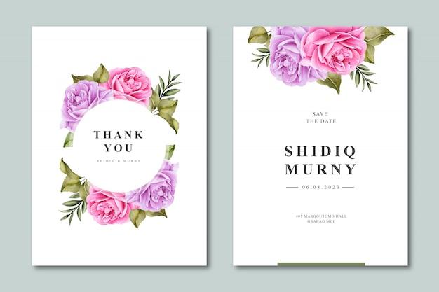 Elegante bruiloft uitnodiging sjabloon met bloemen aquarel Premium Vector