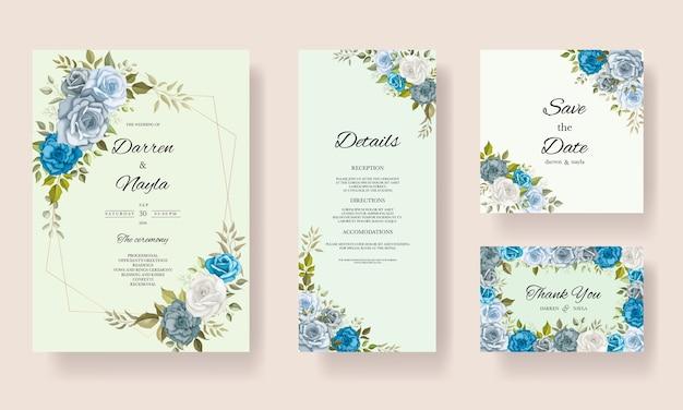 Elegante bruiloft uitnodiging sjabloon met florale decoratie Premium Vector