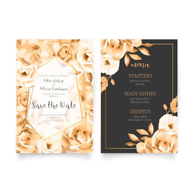 Elegante bruiloft uitnodiging sjabloon met menu Gratis Vector
