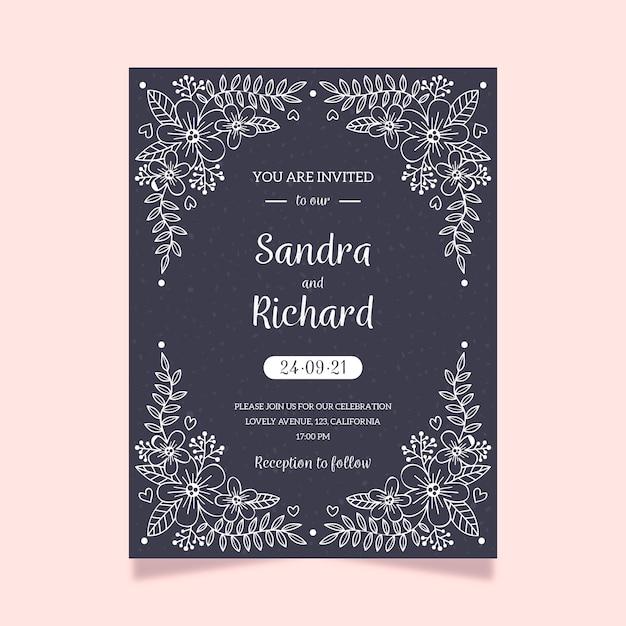 Elegante bruiloft uitnodiging sjabloon op blackboard Gratis Vector