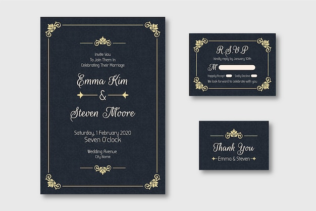 Elegante bruiloft uitnodiging sjabloon Premium Vector