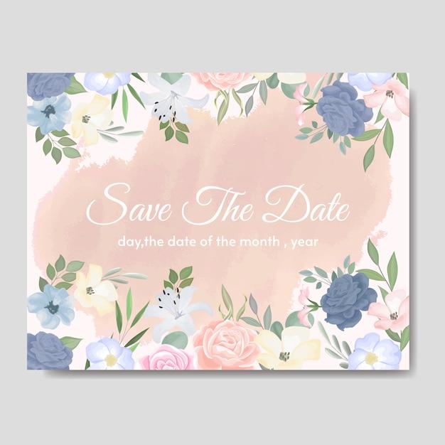 Elegante bruiloft uitnodigingen kaartsjabloon met kleurrijke bloemen en bladeren Premium Vector