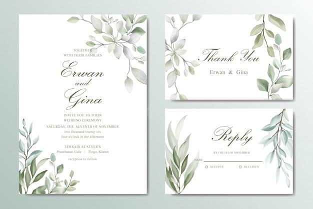 Elegante bruiloft uitnodigingskaart ingesteld met aquarel bladeren Premium Vector