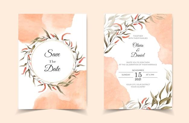 Elegante bruiloft uitnodigingskaart met bladeren en plons Premium Vector