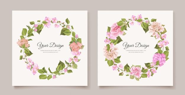 Elegante bruiloft uitnodigingskaart met mooie bloemen Gratis Vector