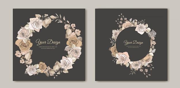 Elegante bruiloft uitnodigingskaart met prachtige bloemen en bladeren sjabloon Gratis Vector
