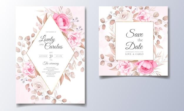 Elegante bruiloft uitnodigingskaart met prachtige bloemen Gratis Vector