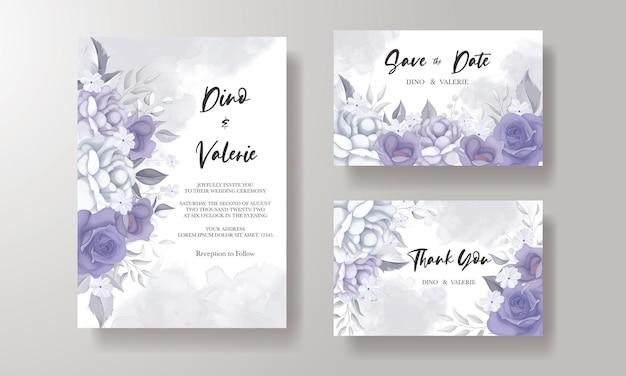 Elegante bruiloft uitnodigingskaart met prachtige paarse bloemen Premium Vector