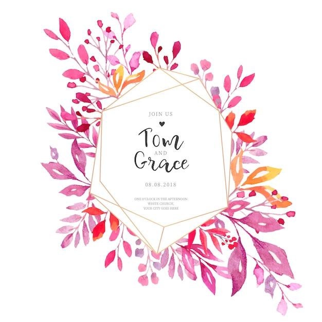 Elegante bruiloft uitnodigingskaart met veelhoekige frame Gratis Vector