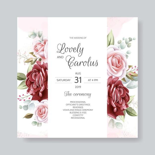 Elegante bruiloft uitnodigingskaart sjabloon set met florale decoratie en gouden glitter Premium Vector