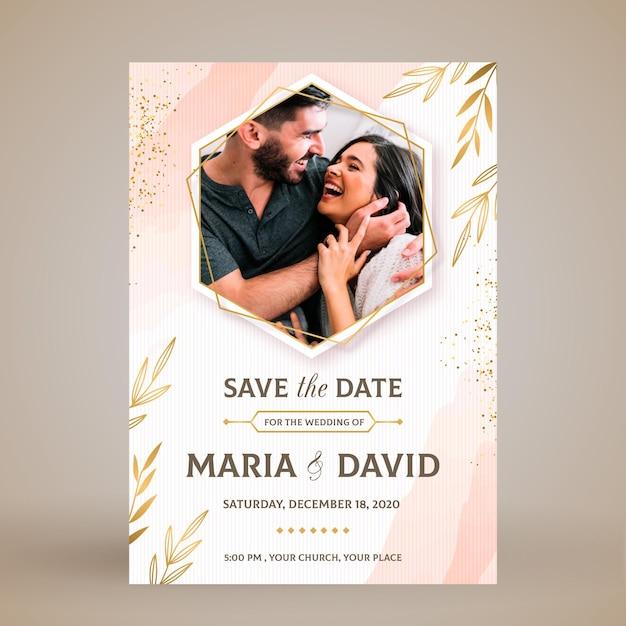 Elegante bruiloft uitnodigingskaart Gratis Vector
