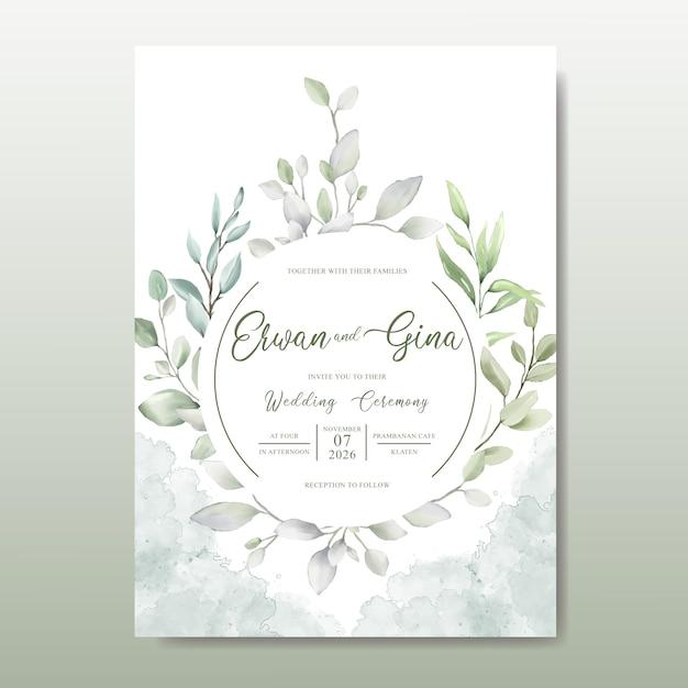 Elegante bruiloft uitnodigingskaartsjabloon met aquarel bladeren Premium Vector