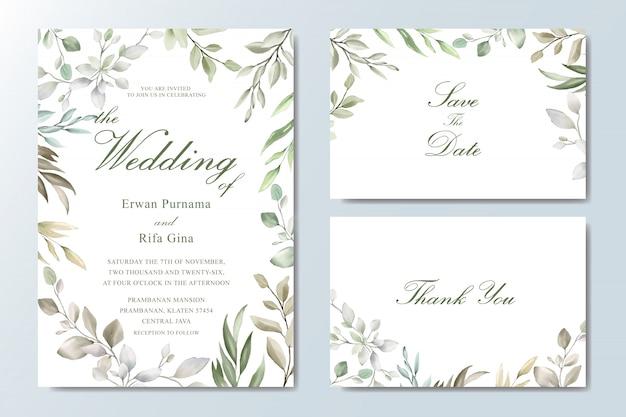 Elegante bruiloft uitnodigingskaartsjabloon Premium Vector