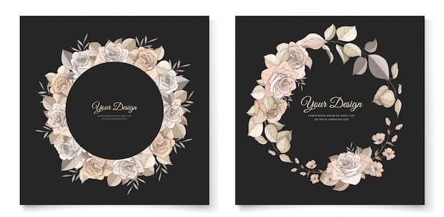 Elegante bruine bloemen uitnodigingskaartsjabloon Gratis Vector