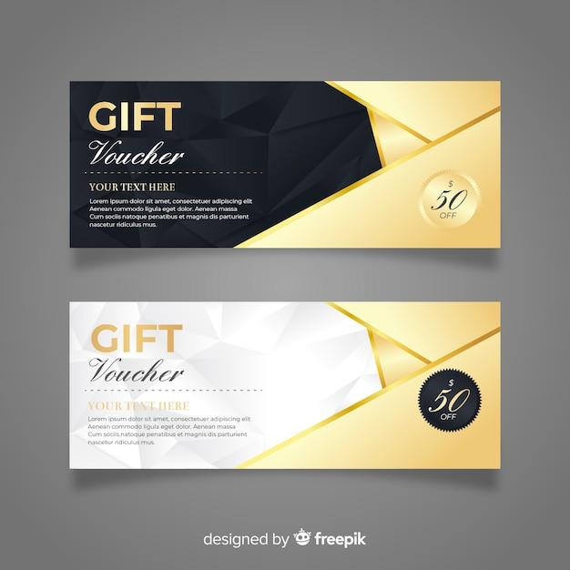 Elegante cadeaubon met gouden stijl Gratis Vector