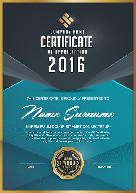 Elegante certificaatsjabloon Premium Vector