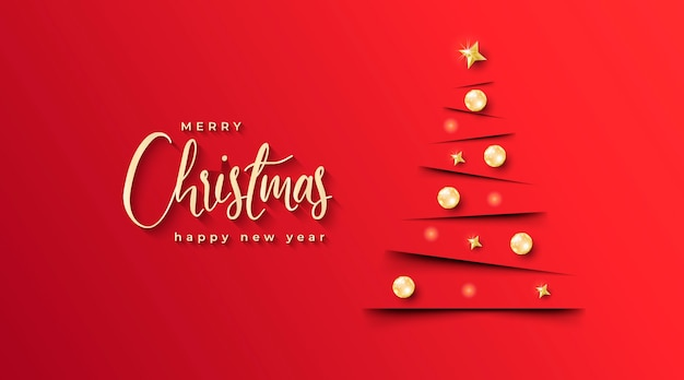 Elegante chritmas banner met minimalistische kerstboom en rode achtergrond Gratis Vector