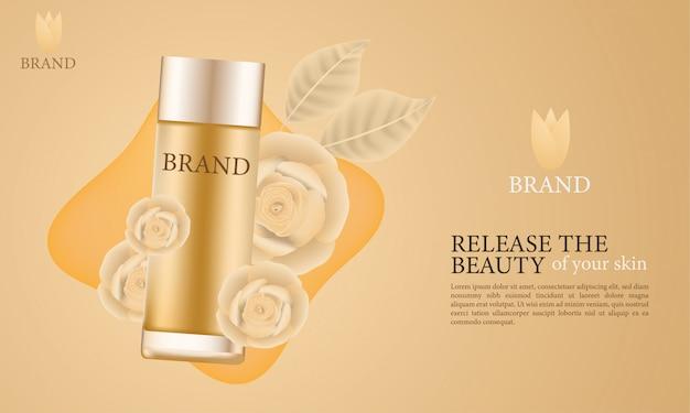 Elegante cosmetische huidverzorgingsadvertenties Premium Vector
