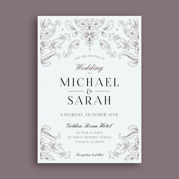 Elegante damast bruiloft uitnodiging sjabloon Gratis Vector
