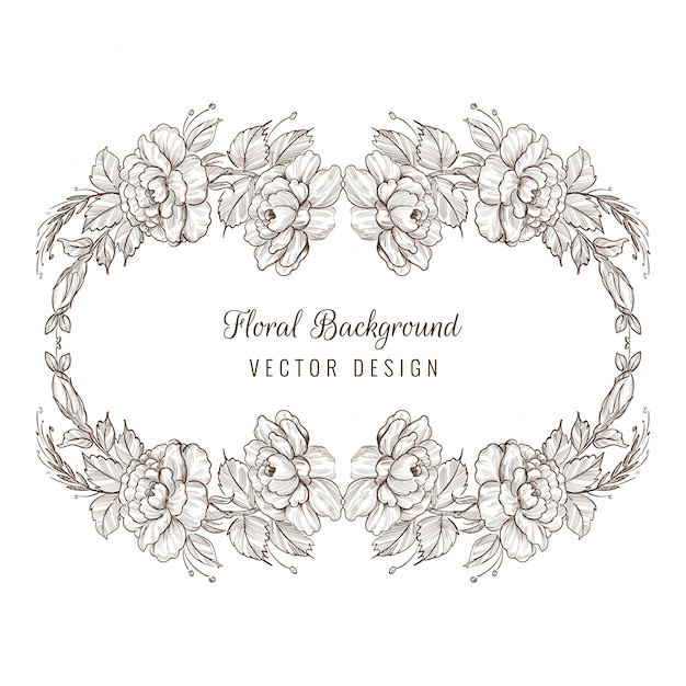 Elegante decoratieve schets floral kaart frame achtergrond Gratis Vector