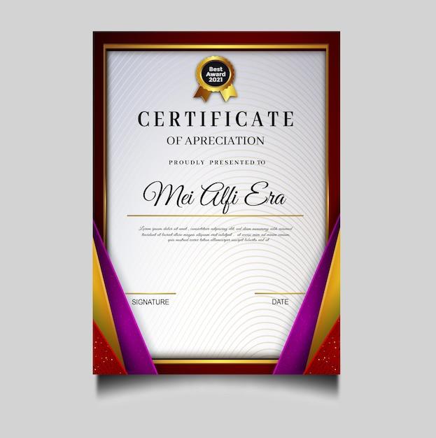 Elegante diploma certificaatsjabloon archivering Gratis Vector