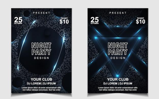 Elegante donkerblauwe nacht dansfeest muziek flyer of posterontwerp Premium Vector