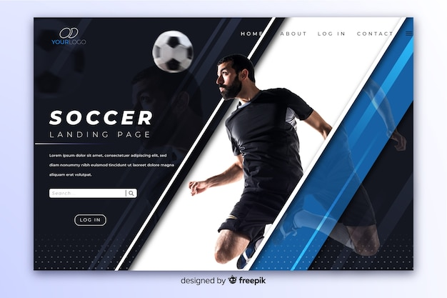 Elegante donkere sportlandingspagina met foto en reflectie Gratis Vector