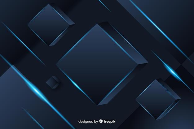 Elegante donkere veelhoekige achtergrond met kubussen Gratis Vector