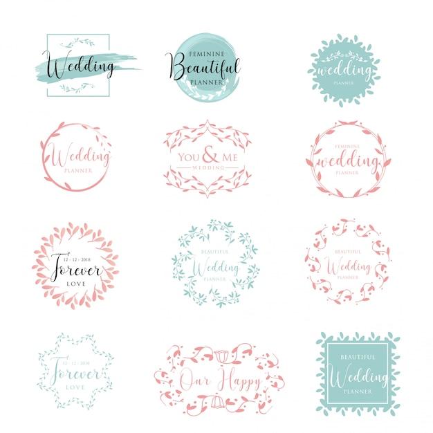 Elegante en vrouwelijke bloemencollectie bruiloft logo Premium Vector
