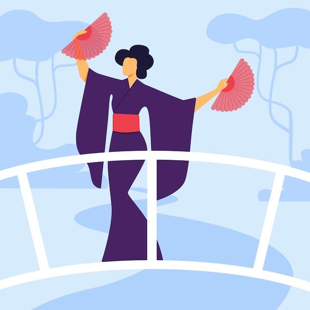Elegante geisha in kimono platte vectorillustratie Premium Vector
