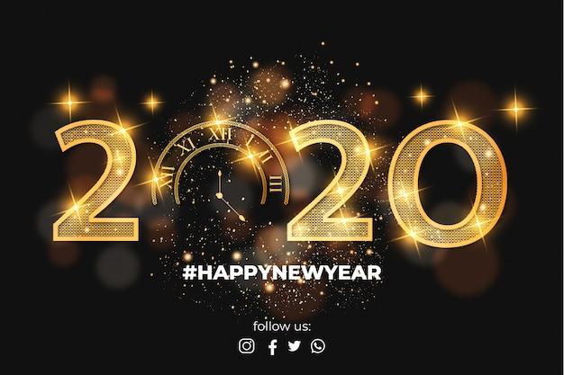 Elegante gelukkig nieuwjaar 2020 kaart achtergrond Gratis Vector