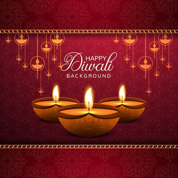 Elegante gelukkige diwali decoratieve rode achtergrond Gratis Vector