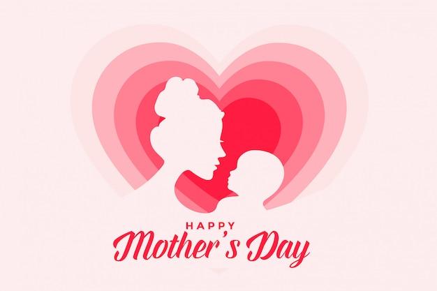 Elegante gelukkige moeders dag kaart ontwerp met harten Gratis Vector