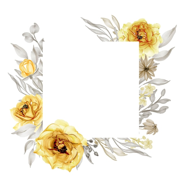 Elegante goud geel roze bloem frame aquarel Gratis Vector
