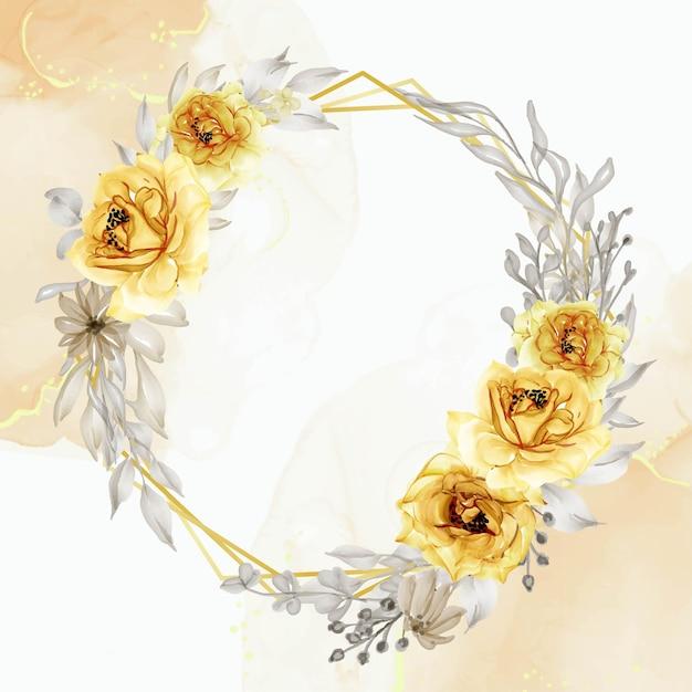 Elegante goud geel roze bloem krans aquarel Gratis Vector