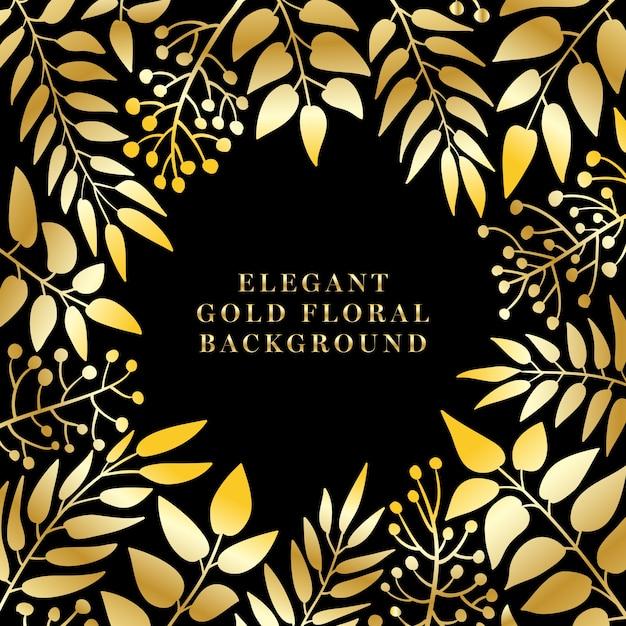 Elegante gouden bloemen achtergrond Premium Vector